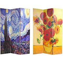 Oriental Furniture 6 ft. Tall Double Sided Works of Van Gogh Canvas Room Divider - Starry Night/Sunflowers