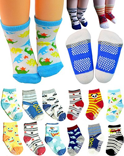 BS 6 Pairs Non Skid 12-36 months Unisex Baby Boy Toddler Non-Skid Slip Cozy Soft Crew Boat Socks + Gift bag + Gift Card, Stripes No-Show Crew Boat Socks Footsocks sneakers