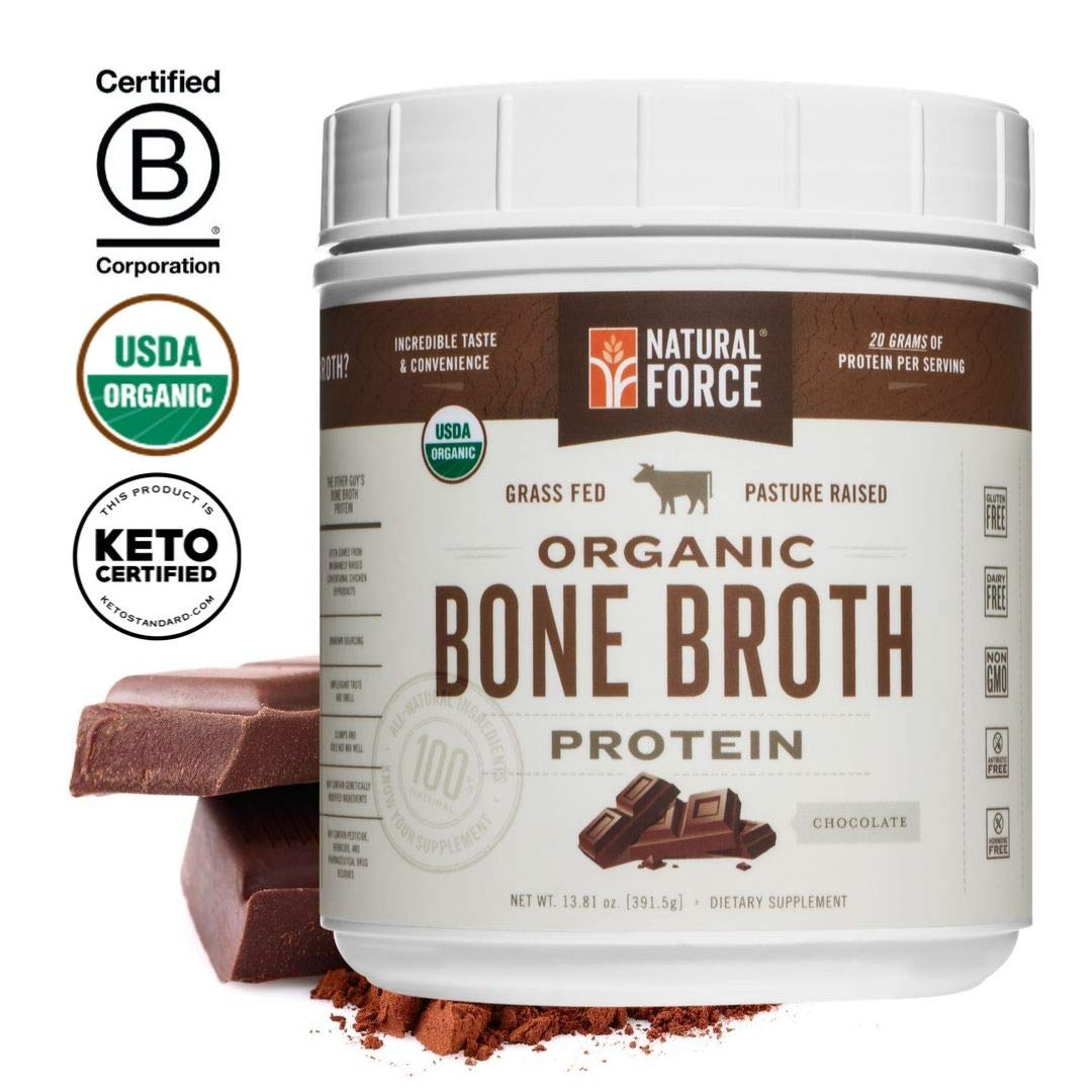 Organic Bone Broth Protein Powder, Best-Tasting Chocolate Flavor - Made from High Quality Grass-Fed Beef Bone Broth *No Fillers or Chicken, Rich in Ancient Collagen* by Natural Force, 13.81 Ounce by Natural Force