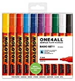 Molotow ONE4ALL Acrylic Paint Marker Set, 10 Basic Colors #1, 4mm (200.456)