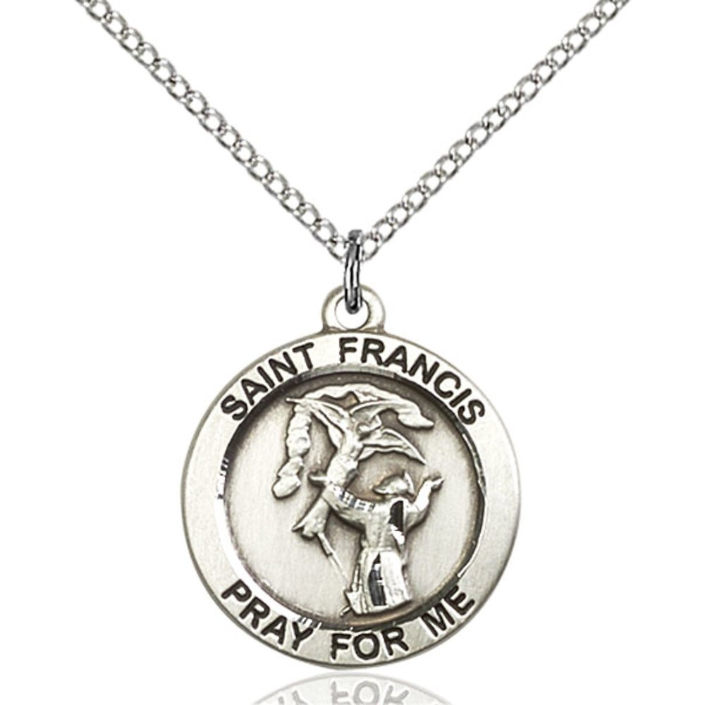 Sterling Silver Women's Patron Saint Medal of ST. FRANCIS - Includes 18 Inch Light Curb Chain - Deluxe Gift Box Included