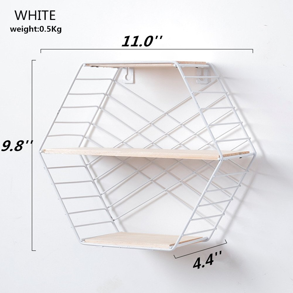 Doremy Floating Shelf,Wall Mounted Modern Simple Geometry Wood Metal Wire Hexagon Plant Flower Wall Decoration Wall Storage Shelves Display Racks Perfect for Bedroom,Living Room,Office (White)