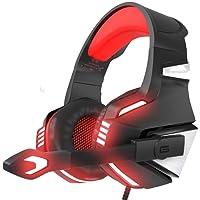 VersionTECH. Casque Gaming pour PS4, PC, Xbox One, Casque Gamer Audio Stéréo Filaire avec Micro, LED, pour Nintendo Switch, Macbook, Ordinateur Portable - Rouge et Noir