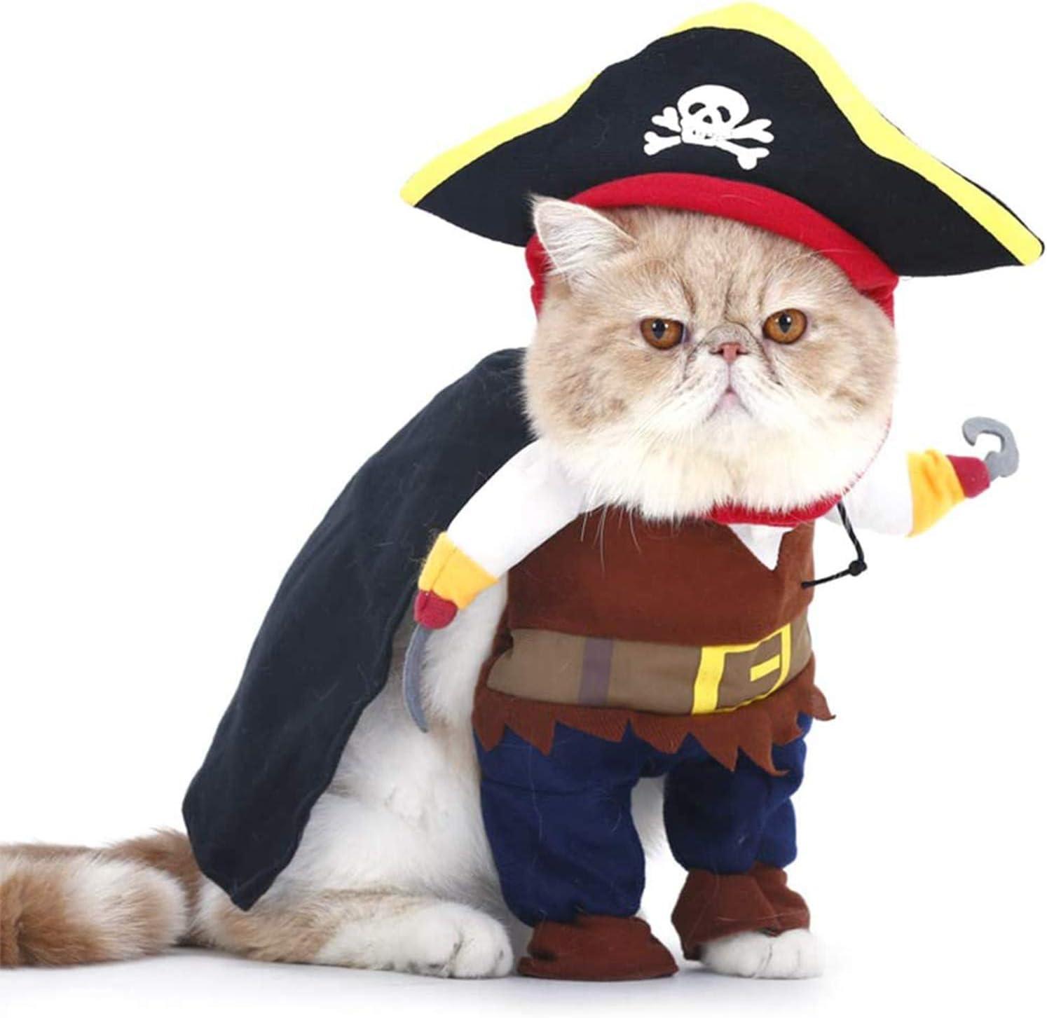Gato y Perro Caribe Pirata Disfraz, Ropa para Mascotas, Disfraces de Halloween y Navidad, Adecuado para Perros Pequeños a Medianos Gatos
