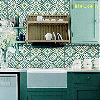 Amazon Com Olive And Teal Tile Stickers For Kitchen