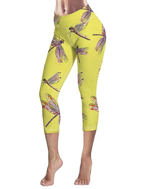 Monroda Womens Yoga Pants Design Dragonfly Printed Fitness ...
