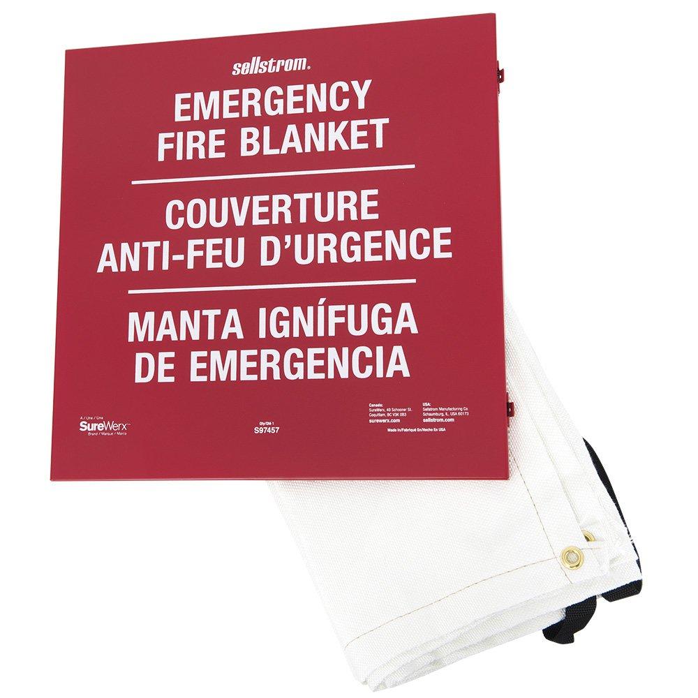 Sellstrom S97457 100% Fibreglass High-Temp Emergency Fire Blanket, Metal Storage Cabinet