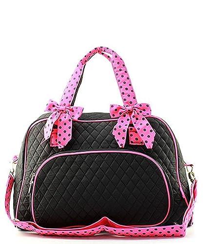 ef52091cbc Solid Color Quilted Large Weekender Tote Duffel Shoulder Bag (Black   Pink)