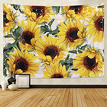 Smurfs Yingda Sunflowers Tapestry Wall Hanging Sunflower Plant Printed Tapestry Sunflower Watercolor Tapestry Cactus Wall Tapestry for Kids Girls Boys Room Bedroom Living Room Dorm