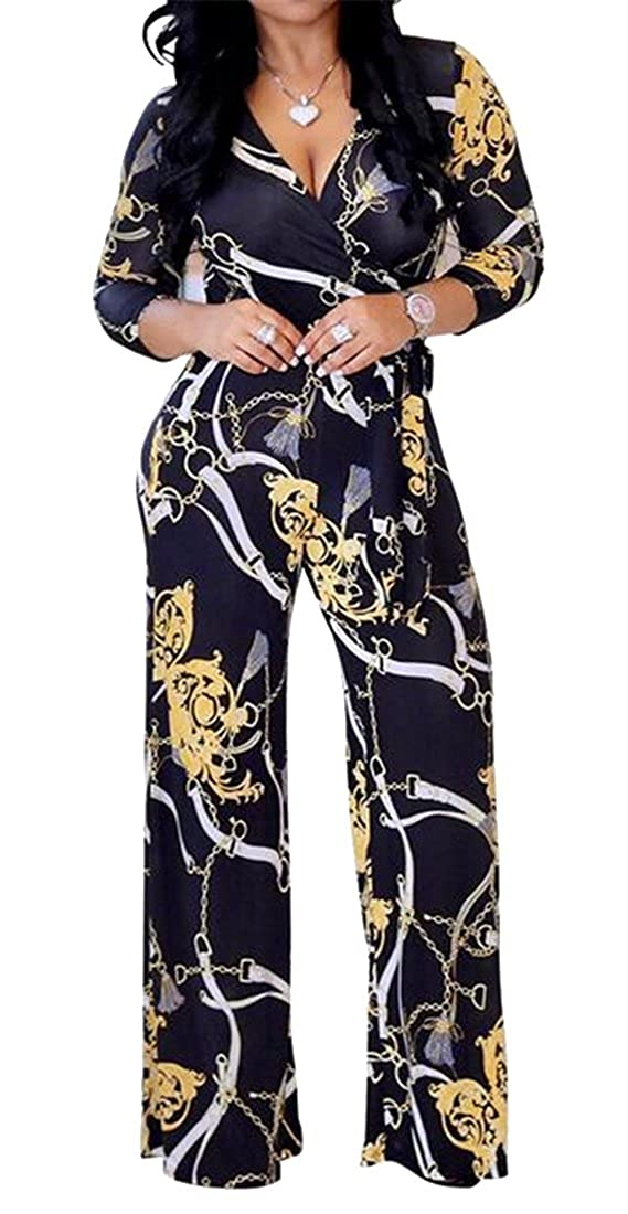 WAWAYAWomen V-Neck Wide Leg Palazzo Lounge Pants Long Sleeve Casual Floral Print Jumpsuit Romper