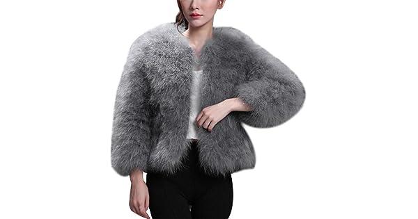 59648e7c969 Kimloog Women Vintage Short Faux Fur Winter Warm Coat Fluffy Soft Jacket  Outwear (L, Gray)