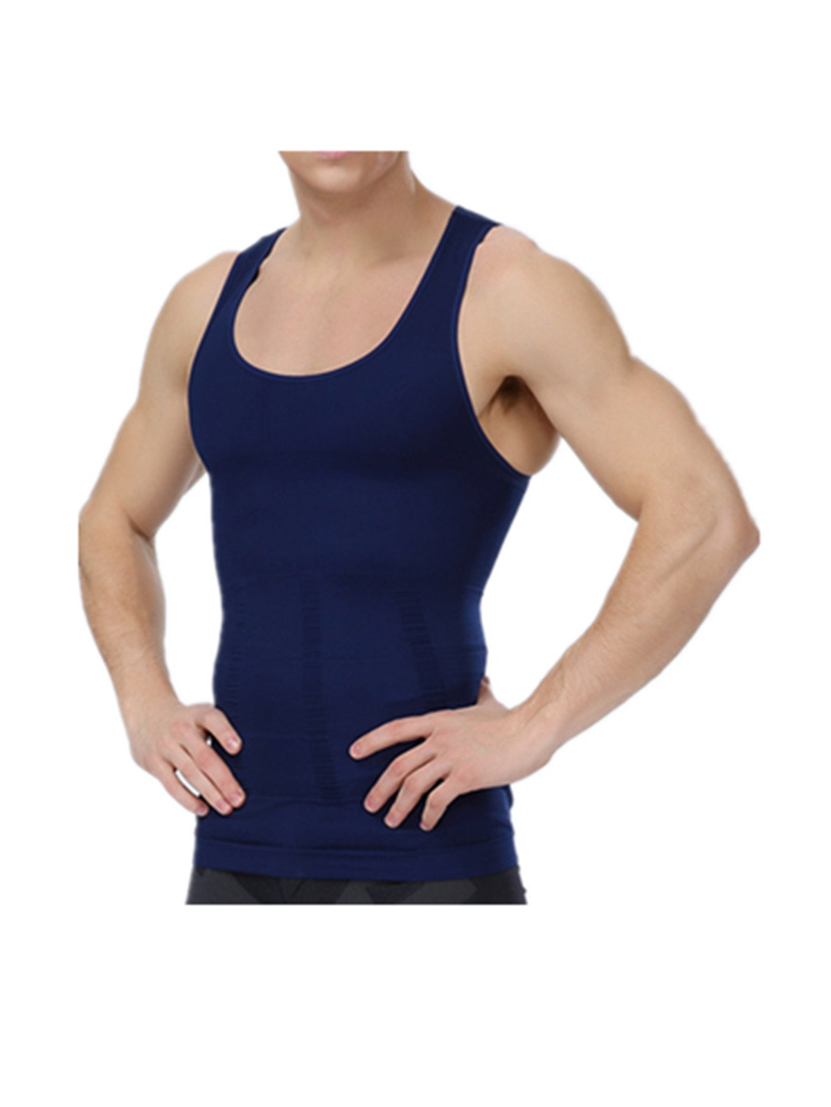 Leright Men's Compression Tank Top Seamless Stomach Shaper Slimming Vest Shirts, Navy Blue, M(US Size Small)