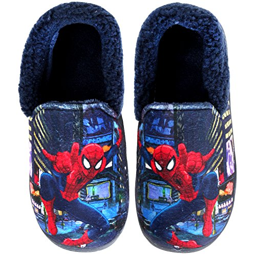 Joah Store Spider-Man Slippers for Boys Navy Red Warm Fur Clog Mule Indoor Shoes (3.5 M US Big Kid, Spider-Man) by Joah Store