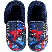 Joah Store Spider-Man Slippers for Boys Navy Red Warm Fur Clog Mule Indoor Shoes