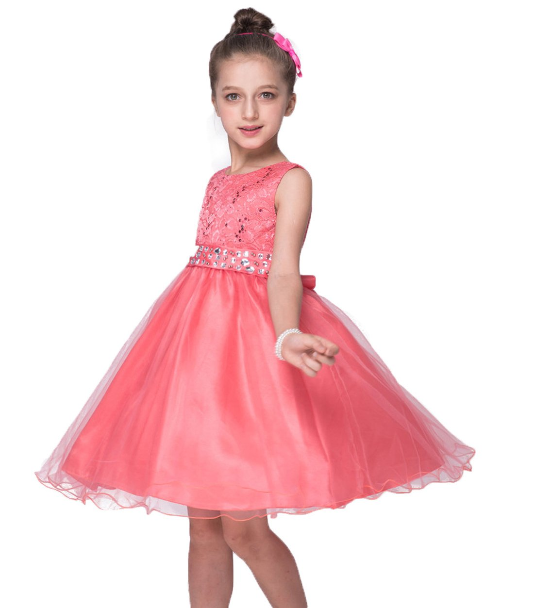Dresses for Girls Church Dress Summer Birthday Special Occasion Wedding Bridesmaid Dresses Size 10 (Coral, 150)