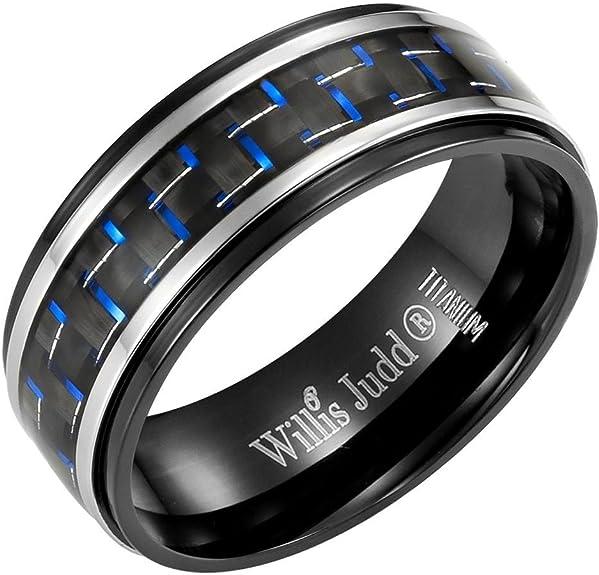 Custom Engraving 8mm Titanium Band Ring Brushed Black Ceramic Center  Gift box  Ship from USA JDTI489