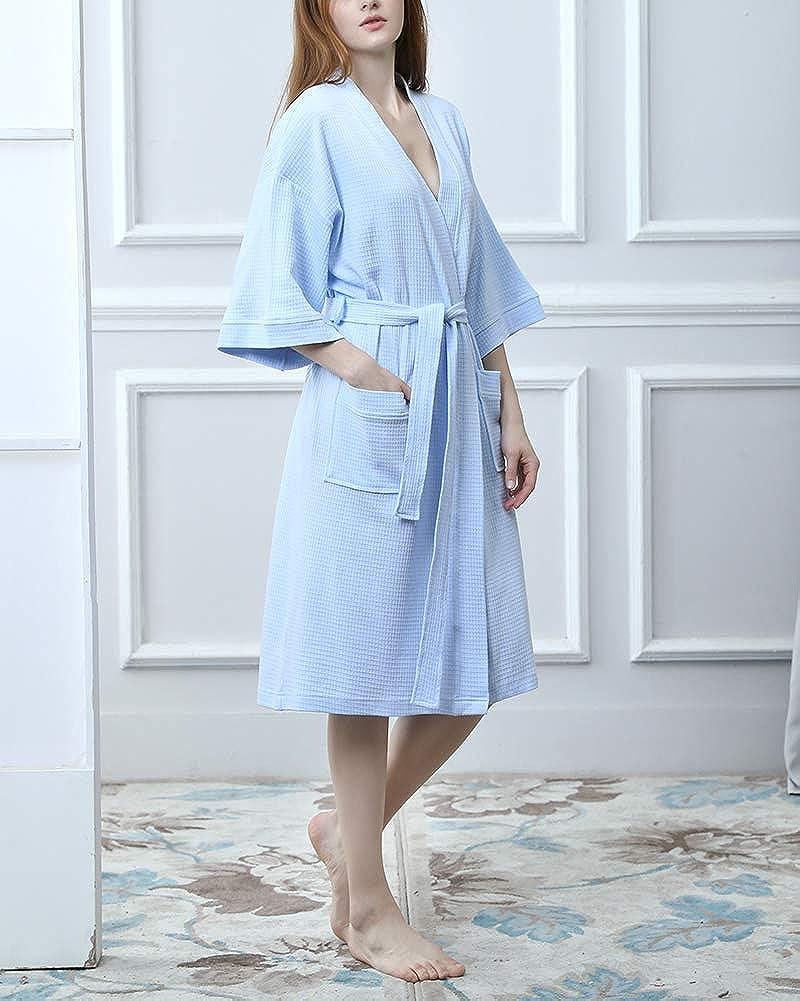 DianShaoA Unisex Herren Damen Morgenmantel 3//4 /Ärmel Waffel Bademantel Kimono Saunamantel Robe Mit V-Ausschnitt