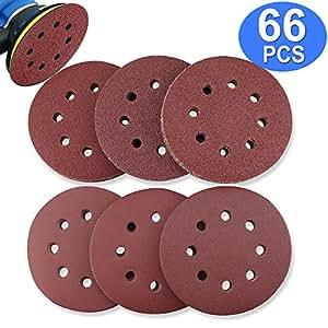 BonyTek 66 PCS 5 Inch 8 Hole Sanding Discs, 11 Discs Each of 40 60 80 120 180 240 Grits Hook and Loop Sander Sand Paper Assortment for Random Orbital Sander