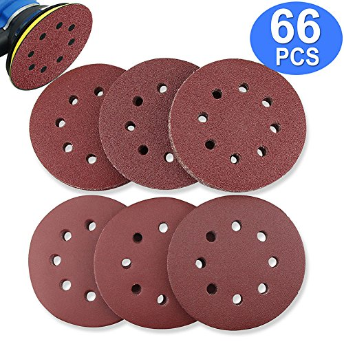 BonyTek 66 PCS 5 Inch 8 Hole Sanding Discs, 11 Discs Each of 40 60 80 120 180 240 Grits Hook and Loop Sander Sand Paper Assortment for Random Orbital Sander by BonyTek