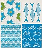 Swedish Dishcloths - Reusable Sponge Cloths (TS) Midcentury Flowers and Bikes - Set of 4 Different Designs in Turquoise/Green