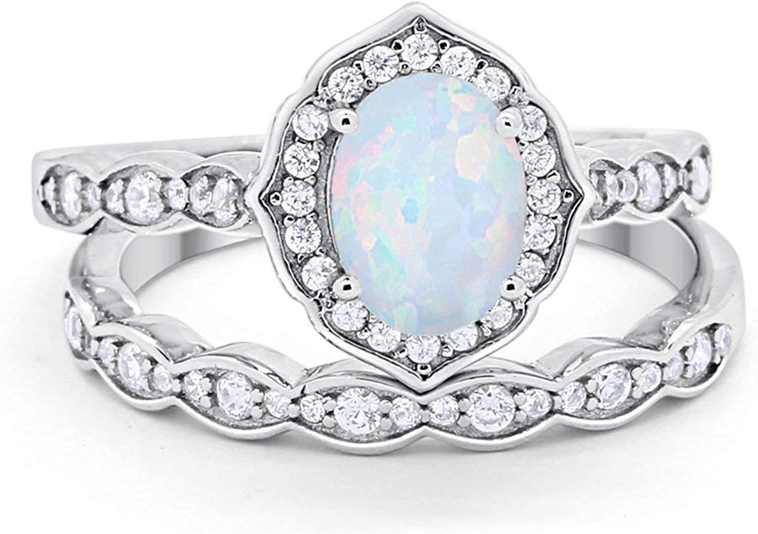 Blue Apple Co. Two Piece Art Deco Vintage Style Wedding Engagement Bridal Set Ring Band 925 Sterling Silver Oval Round CZ