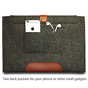 Macbook Air/Pro 13 inch Case, Makion Felt Sleeve Cover Carrying Protective Bag with Card Slot and Charger Pouch for Macbook Air/Pro Retina 13.3 inch,Compatible Most 12 inch Ultrabook[Felt,Dark Grey]