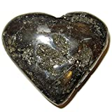 Satin Crystals Pyrite Heart 3.4'' Collectible Cluster Stone Fool's Gold Fall in Love Valentine Treasure Rock C02