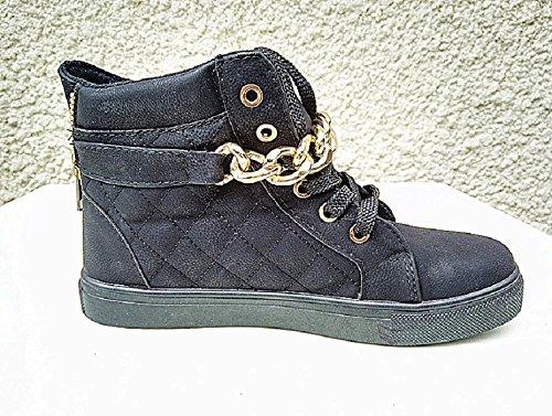 boucle montante chaîne mode mode MD1307 Baskets chaussure fashionfolie NOIR lacet femme fille 78Rwx5zq