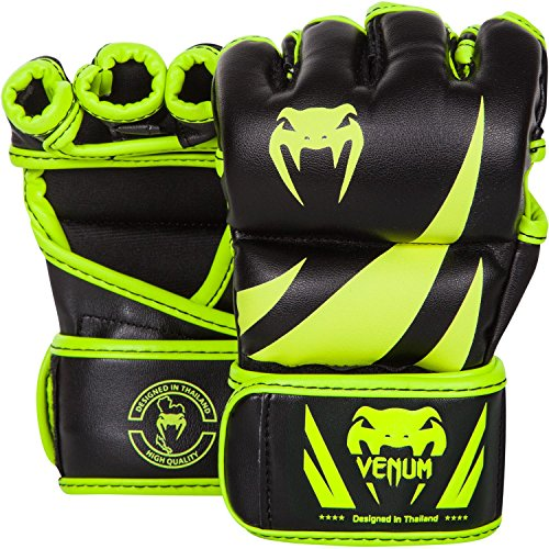 Venum Challenger MMA Gloves, Small, Black/Neo Yellow