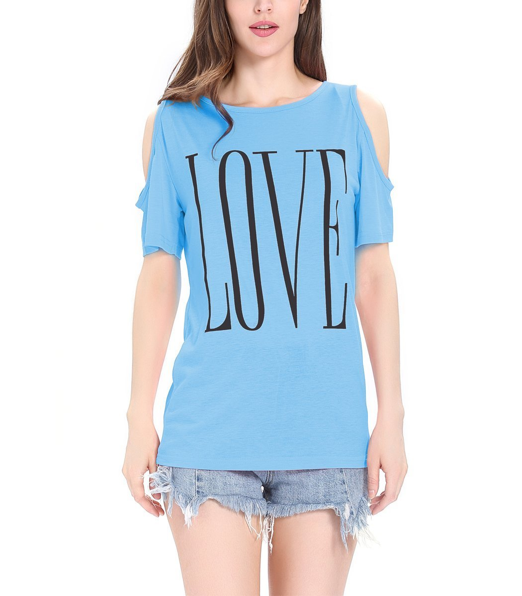 Finyosee Women's Cute Cold Shoulder, Round Neck, Short Sleeve Tops, Base T-Shirt Love Print (Medium, Blue)