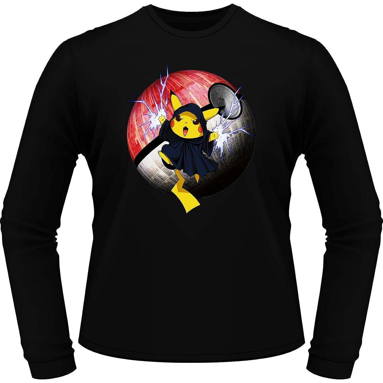 Pokemon Pikachu and Star Wars Emperor Palpatine (Darth Sidious) Parody Long sleeve T-shirt - Funny video games Long sleeve T-shirt