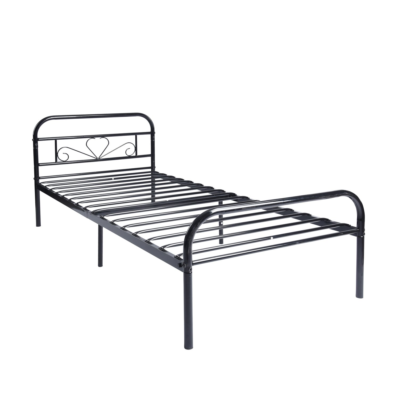 Twin Size Metal Bed Frame Mattress Platform with Headboard Footboard ...
