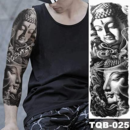 Brazo grande manga tatuaje reloj impermeable tatuaje apliques ojo ...
