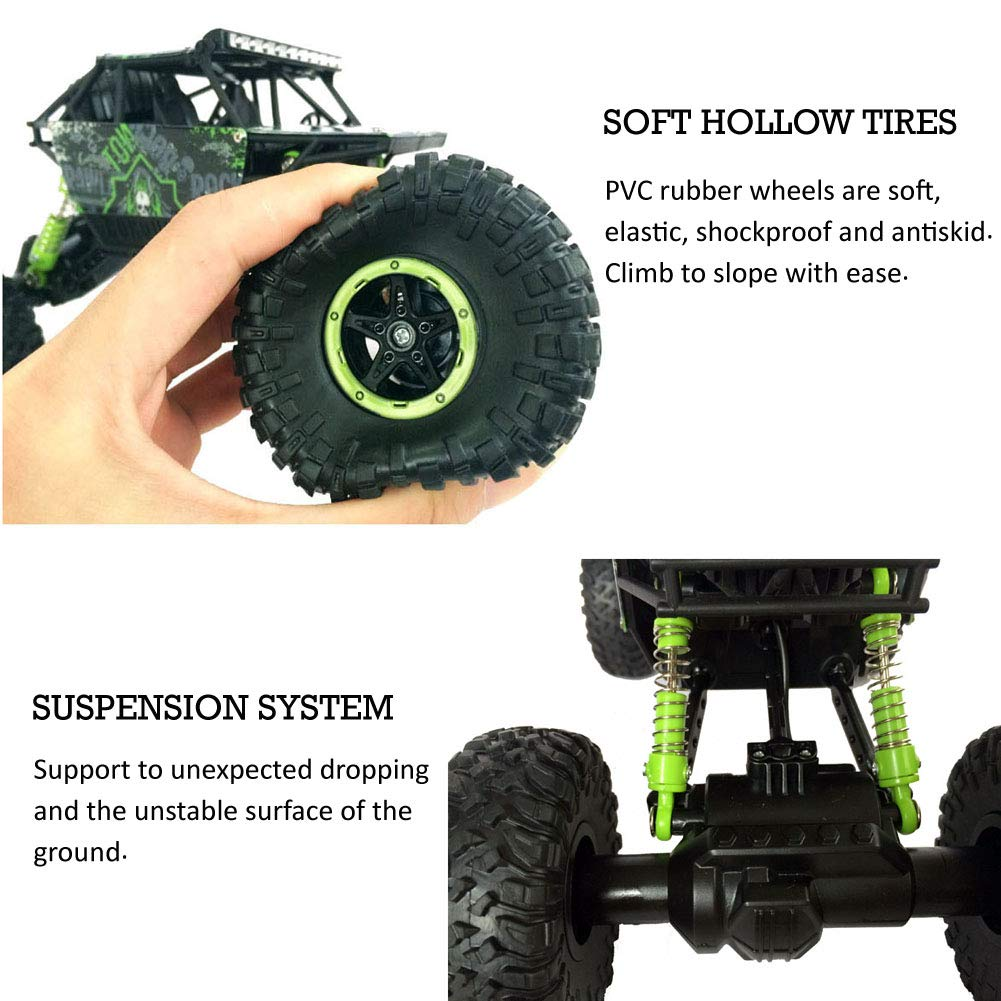 Tuptoel 1/18 RC Rock Crawlers Car Monster Truck 2 4G Remote Control 4WD Off  Road Dune Buggy Vehicle Toys for Boy