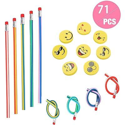 71 piezas Kids Party Bag Set de relleno, Annhao suave flexible Bendy lápices y Emoji Smile Erasers Magic Bend Toys School Fun equipo de papelería Favor suministros, Regalos para Fiestas Infantiles: Oficina y papelería