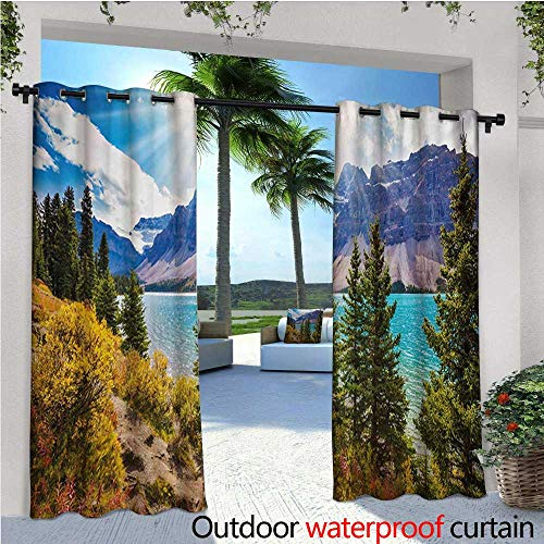 - homehot Landscape Balcony Curtains National Park Banff Canadian Rockies Mountain Trees Glacial Lake Sunny Sky Outdoor Patio Curtains Waterproof with Grommets W96 x L108 Aqua Mauve Green