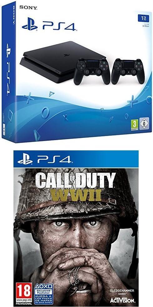 PlayStation 4 (PS4) - Consola de 1 TB + 2 Dual Shock 4 Wireless Controller + Call Of Duty WWII: Amazon.es: Videojuegos