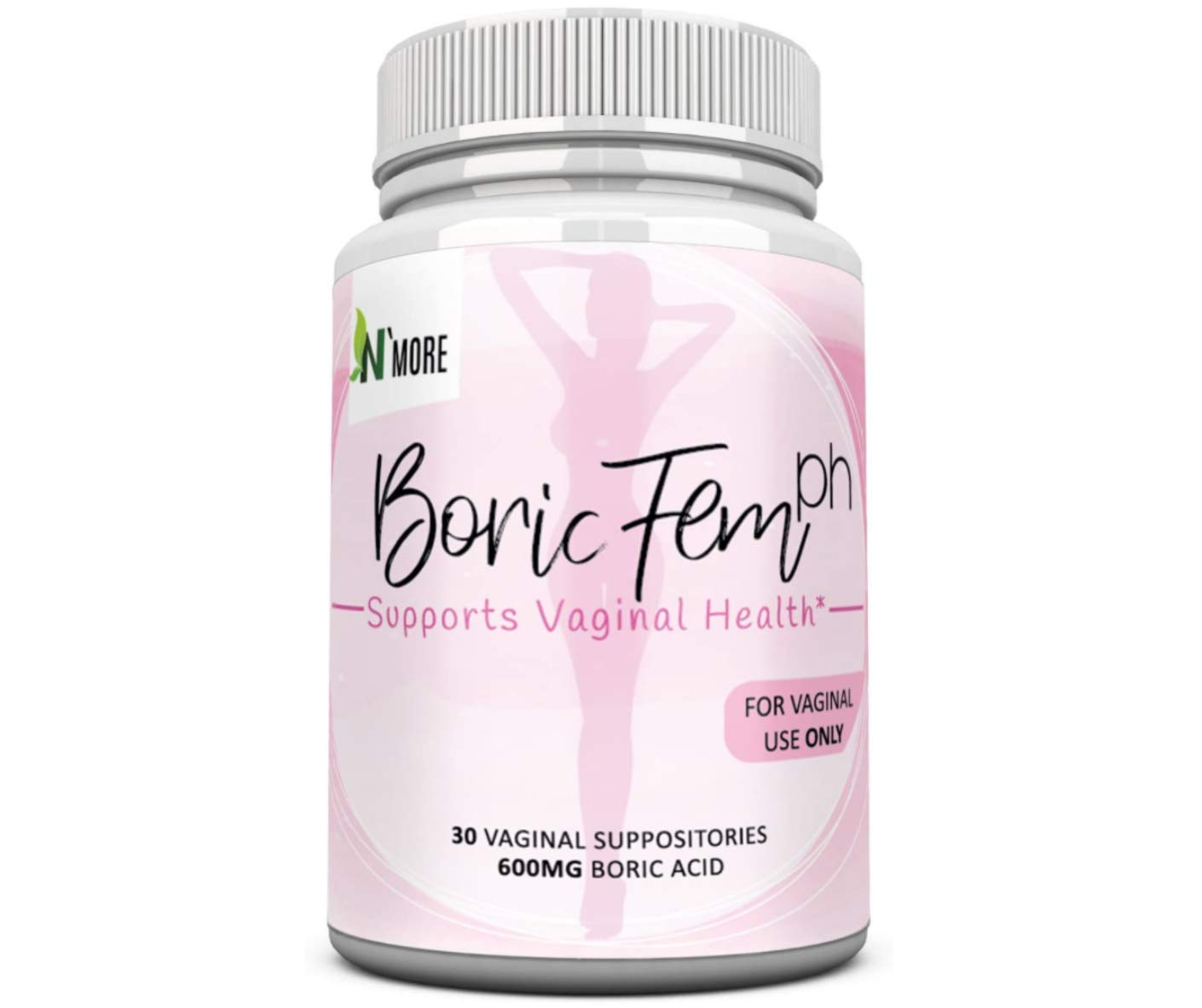 Boric Acid Vaginal Suppositories - 30 Count, 600mg - 100% Pure Made in USA - Boricfem Support Vaginal Health