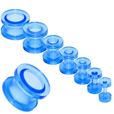 Acrílico Transparente Tunnelset Túnel Taper Dilataciones Expansor Dilatador Pendientes Piercing Kit Set Oreja Ø 2-12mm, color:azul oscuro: Amazon.es: ...