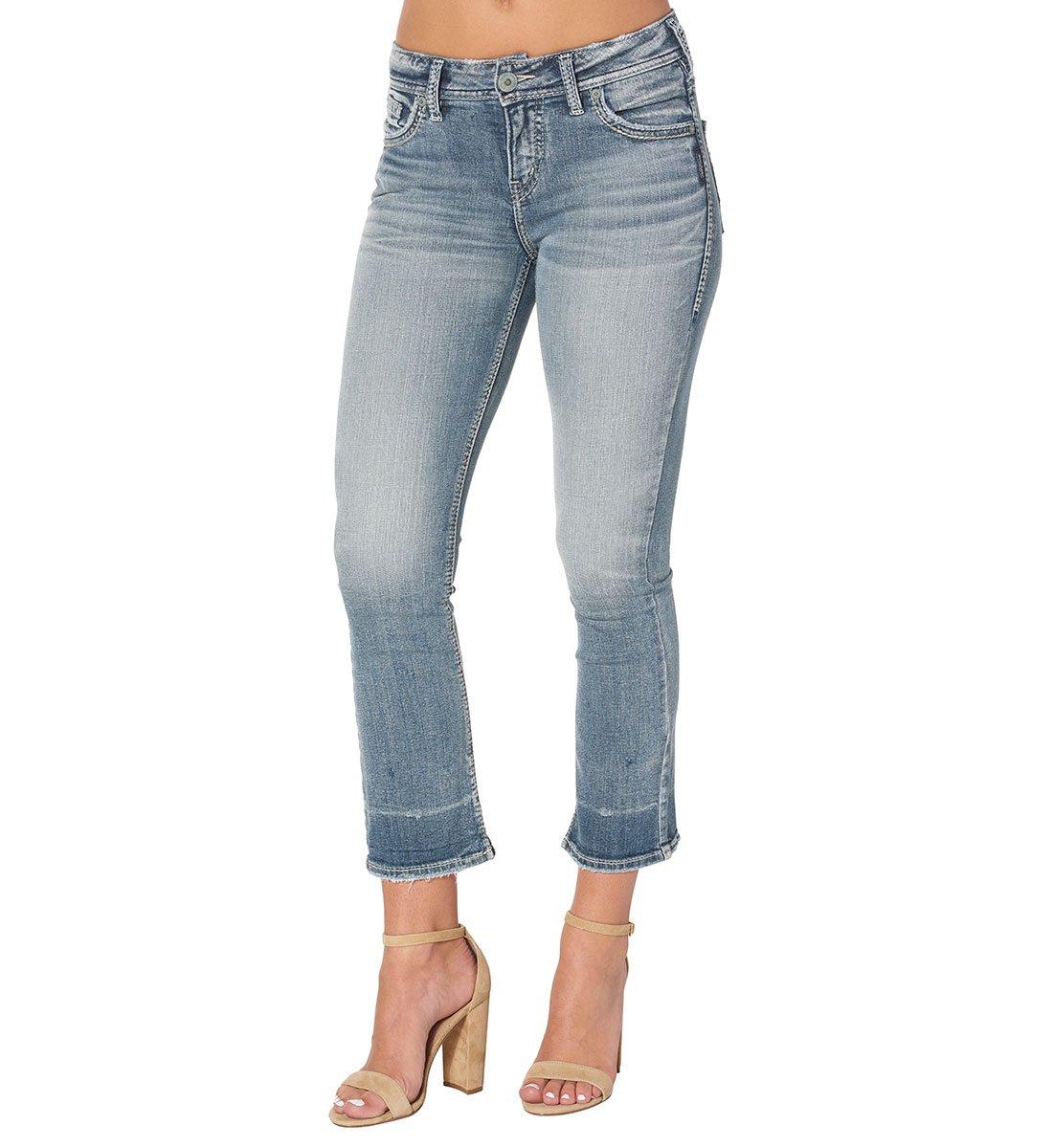 Silver Jeans Women's Aiko Demi Straight-Fit Mid-Rise Ankle Kick Crop-Leg Jean, Indigo Light Wash, 29