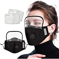 Unisex's Detachable Eye Shield Face Mas_Ks With Activated Carbon Filter, Breathing Valves, Washable Reusable Windproof…