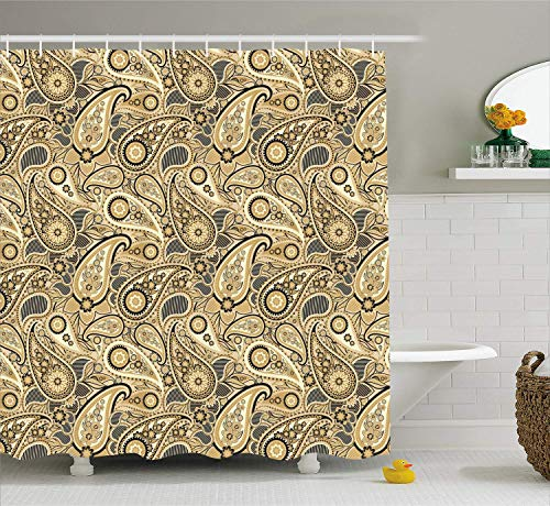 (VIMMUCIR Earth Tones Shower Curtain, Iranian Pattern Traditional Asian Paisley Welsh Pears, Fabric Bathroom Decor Set with Hooks, Charcoal Grey Pale Yellow Camel )