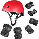 JBM niños ciclismo rodillo patinaje rodilla codo muñeca almohadillas para orejas para orejas protectoras – negro/tamaño…