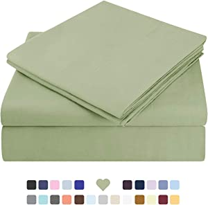 HOMEIDEAS Bed Sheets Set Extra Soft Brushed Microfiber 1800 Bedding Sheets - Deep Pocket, Wrinkle & Fade Free - 4 Piece(Full,Sage Green)
