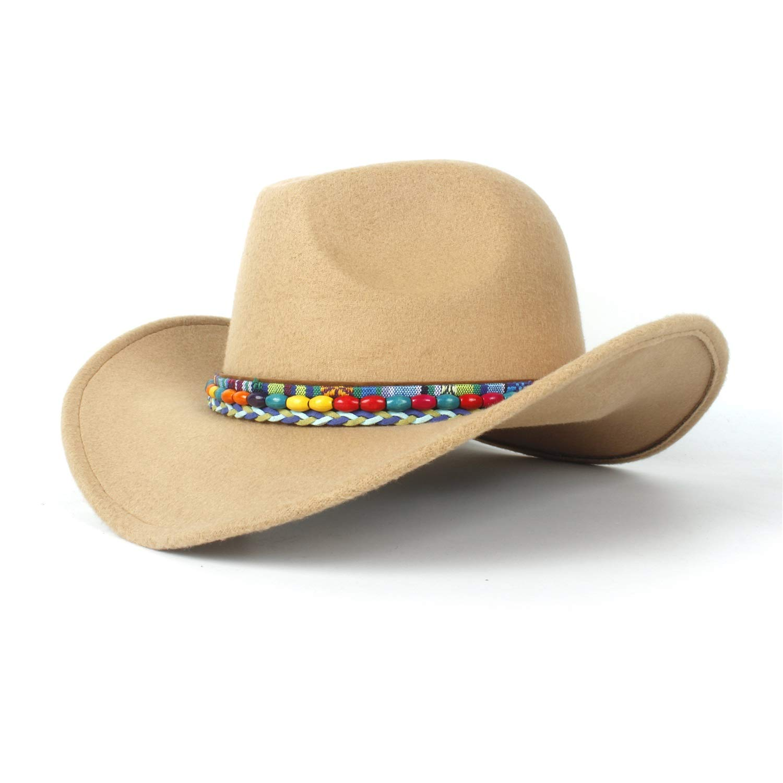 265caa8a8b8b0 CSNMALL Lady s Felt Hat with Stylish Decoration Band 56-59cm Wool roll-up  Brim Classic Western Cowboy Hat (Color   Beige