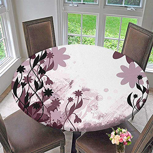 (Mikihome Chateau Easy-Care Cloth Tablecloth Daisy Like Garden Flowers Swirls Leaves Abstract Background Art Plum Light Pink and for Home, Party, Wedding 59