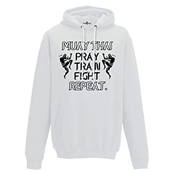KiarenzaFD Sudadera Capucha Hombre Muay Thai Pray Train Fight Repeat Tailandia Boxeo Lucha 1: Amazon.es: Deportes y aire libre