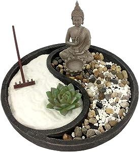 Desktop Zen Garden Kit Large Round, Buddha Statue Tea Light Holder (Black)