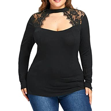 Paymenow Women Sexy Low Cut Tops Lace Halter Splice Floral Long Sleeve  Keyhole Back Loose Blouse b05df30f9077