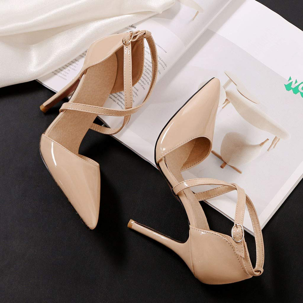 Heeled Sandals for Women Ankle Strap,FAPIZI Lady Round Toe Shoes Cross Bandage High Heel Non-Slip Sandals Beige by FAPIZI Women Shoes (Image #2)